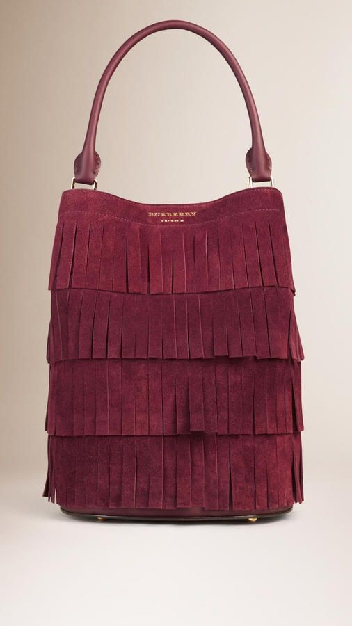Burberry The Bucket Bag In Tiered Suede Fringing | style ...