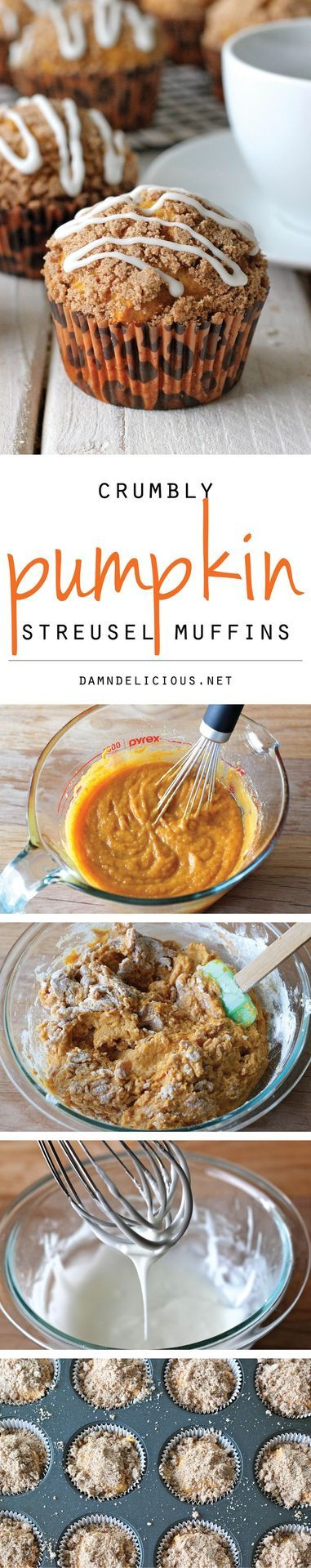 Pumpkin Streusel Muffins - Pumpkin bread in muffin form with an oh-so-crumbly streusel topped with a drizzled vanilla glaze!