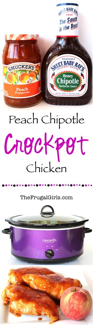Crockpot Peach Chipotle Chicken Recipe! ~ from TheFrugalGirls.com ~ just a few ingredients for this simple Slow Cooker dinner ~ it