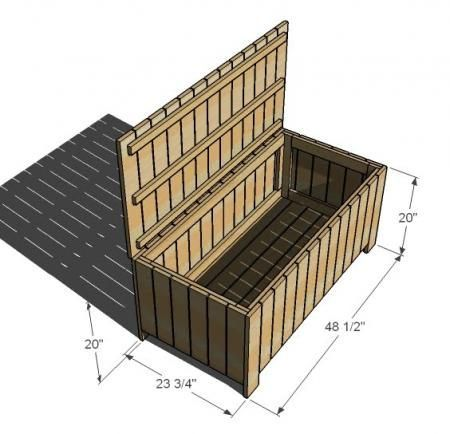 I want to make this!  DIY Furniture Plan from Ana-White.com  Well, I did it. I just crossed the last item off the list (I think!) of the Simple Outdoor Collection. This collection was very much inspired by West Elm's Wood Slat Collection, and this particular storage bench was inspired by West Elm's Wood Slat Storage Bench. Thanks to Janae for the Photo.