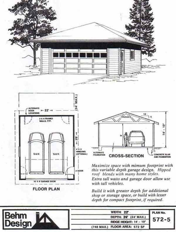 Hipped roof two car garage plan 572 5 22 39 x 26 39 by behm for 5 car garage plans