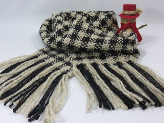 Woven Scarf Black & Light Gray Woven Scarf Wool by PimlaOriginals
