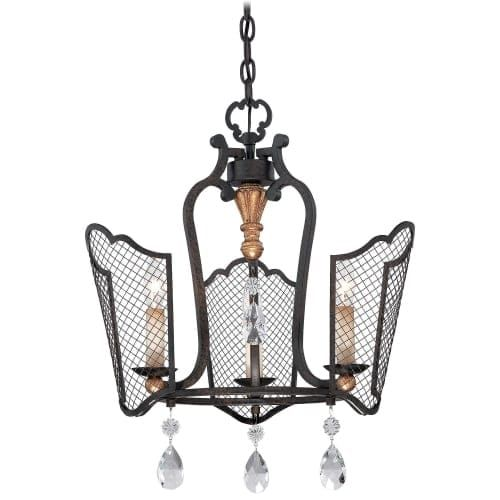 Metropolitan N7110 3 Light 1 Tier Mini Cage Chandelier from the Cortona Collection, French Bronze With Gold Highlights