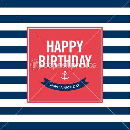 Alles Gute zum Geburtstag-Einladungskarte. Seemann-Thema — Stockvektor  #27237391