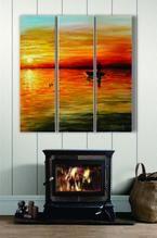 """Gone Fishin"" 3-Panel Acrylic on Canvas"
