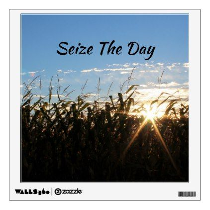 Seize The Day - Inspirational Quote - Sun Rays Wall Sticker - blue gifts style giftidea diy cyo