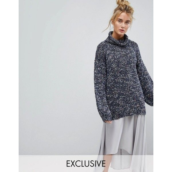 OneOn Hand Knitted Oversized Multi Coloured Jumper (€105) ❤ liked on Polyvore featuring tops, sweaters, hand knitted sweaters, fringe sweaters, chunky knit sweater, oversized chunky cable knit sweater and cable knit sweater