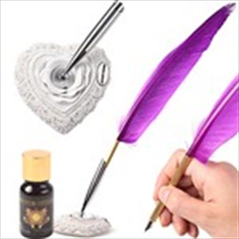 Wonderful Feather Decorated Ink Pen Fountain Pen Gift Present with Nib & Base - Purple