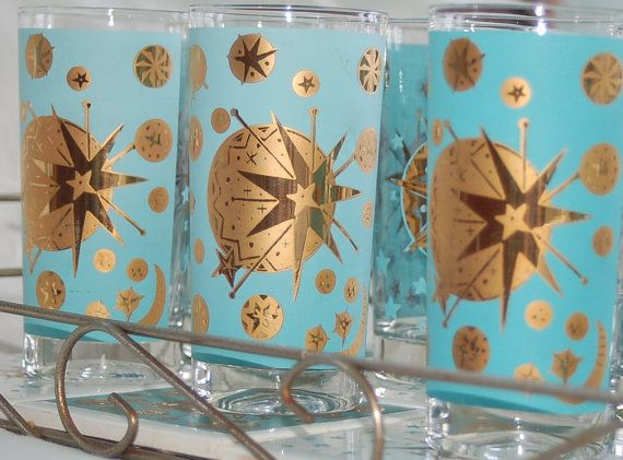 Mid Century Starlyte Bar Set - 8  Atomic Turquoise and Gold Highballs with 8 Coasters and Gold Tone Carrier