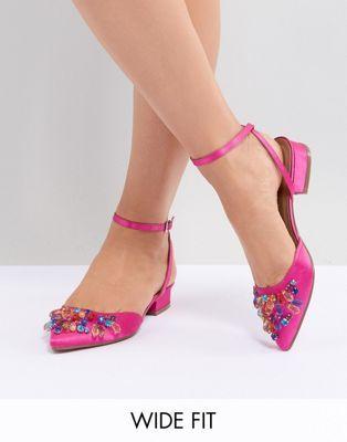 559724885779 ASOS DESIGN Love Lock Wide Fit Embellished Ballet Flats