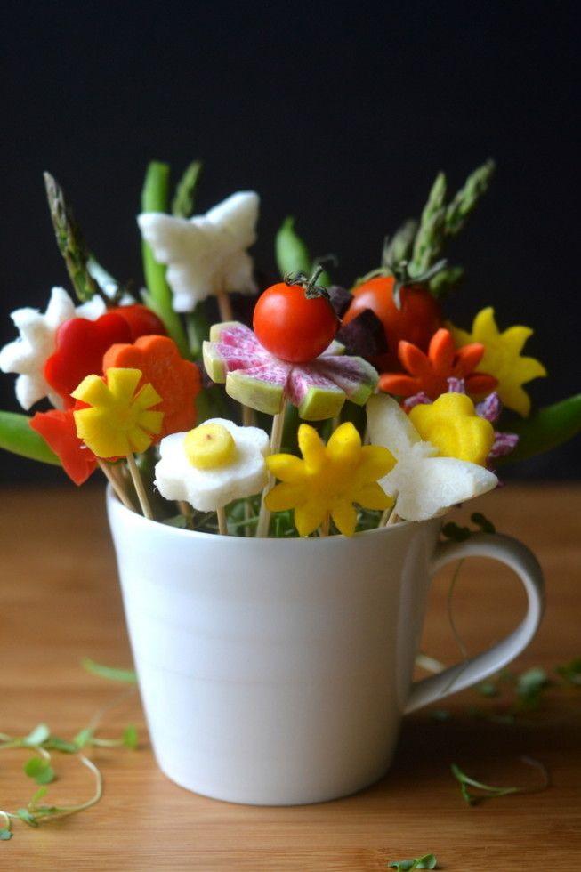 How to Make Edible Bouquets -  Colorful Veggie Flowers for fun centerpieces, hostess gifts, wedding showers, picnics and barbecues! The View from Great Island