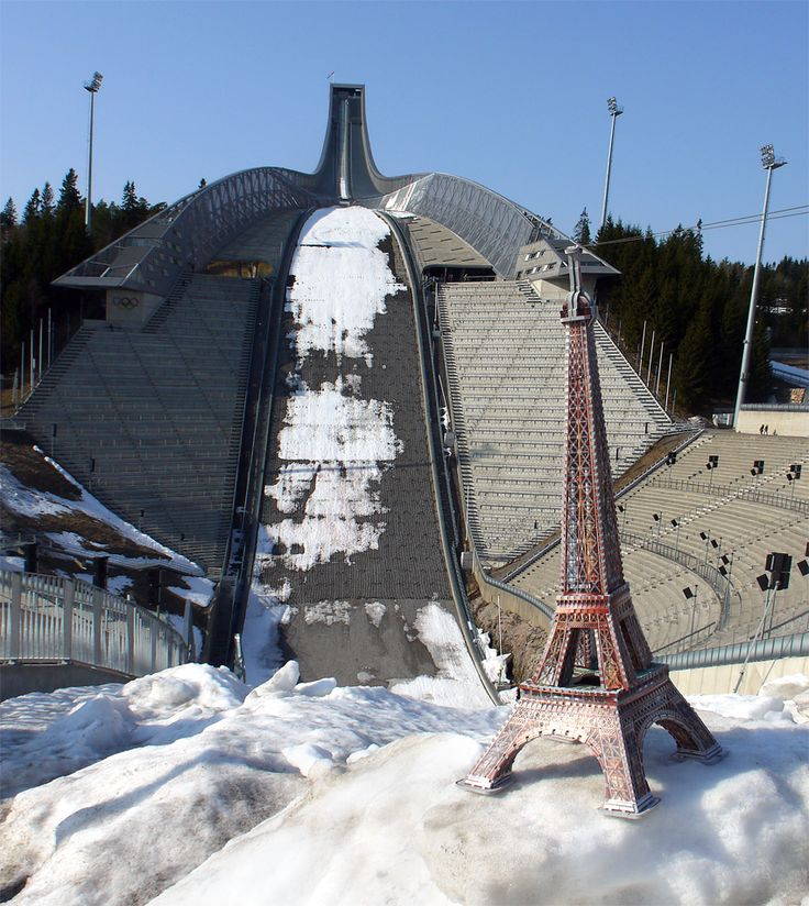 Wrebbit 3D Eiffel 3D puzzle is not afraid of heights. She can admire the sight of  the ski jumping hill Holmenkollen without a sweat. Oslo, Norway. Photo credit: Tactic Norge AS #Eiffel125