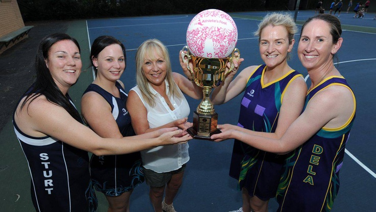Sturt Diamonds' co-captains Amanda Guthrie and Laura Allan with coach Sue Allan will play Dela Assuntas' playing captains Emma Farrell and Cindy Daniel tonight in their first grand final in The Athlete's Foot Cup. PICTURE: JUSTIN WHITELOCK