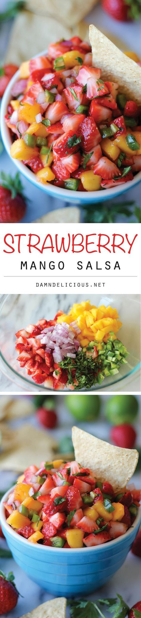 Strawberry Mango Salsa - The combination of sweet and spiciness is so good, you'll want to eat this with a spoon!