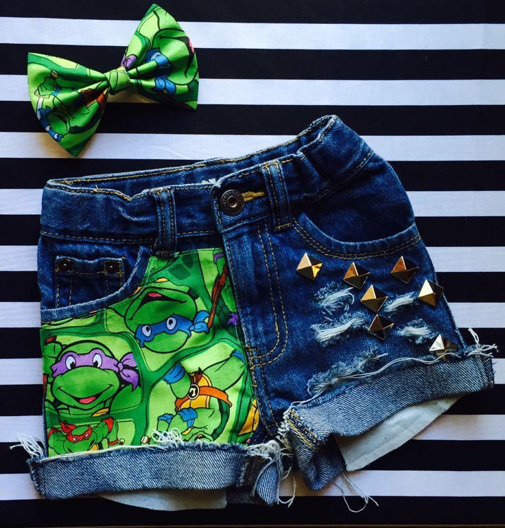 Girls Teenage Muntant Ninja Turtles Studded Cut Off Shorts With Matching Hair Bow, TMNT, Ninja Turtle Birthday, TMNT Birthday by VINTAGESHREDS on Etsy https://www.etsy.com/listing/230608992/girls-teenage-muntant-ninja-turtles