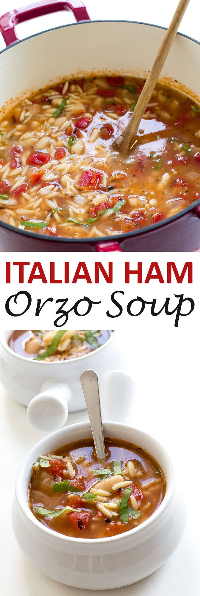 Italian Ham and White Bean Orzo Soup! A super easy dinner recipe that comes…