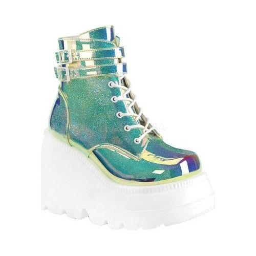 Botas Demonia Shaker 52, tornozelo para mulher – Glitter verde UV   – Shoes
