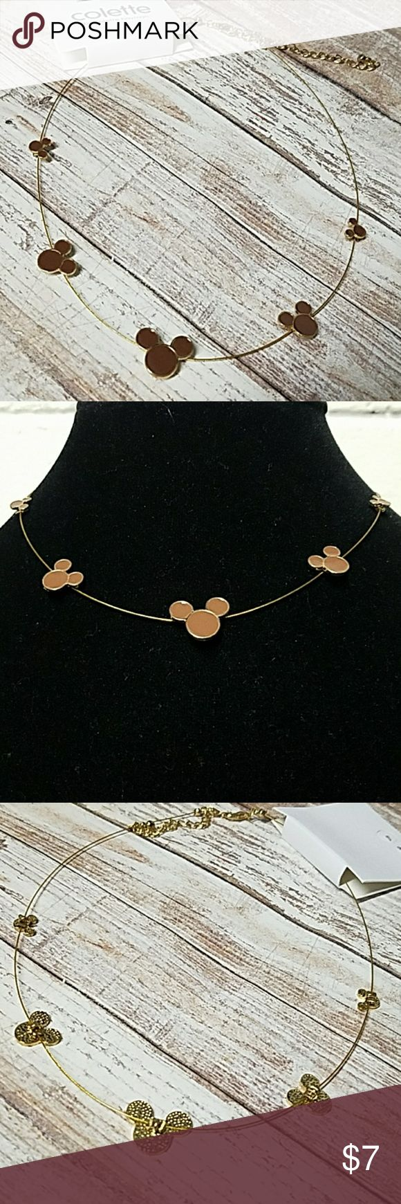 """Gold Mouse Ears Collar Necklace 14"""" Long w/3"""" extender chain Gold Necklace. 5 Gold mouse ears w/brown enamel coating accent this necklace. Lobster clasp closure. Item#N907 *ALL JEWELRY IS NWT/NWOT/UNUSED VINTAGE* 25% OFF BUNDLES OF 3 OR MORE ITEMS! **REASONABLE OFFERS ACCEPTED** BUY WITH CONFIDENCE~TOP 10% SELLER,FAST SHIPPER, 5 STAR RATING, FREE GIFT w/MOST ORDERS! Colette Hayman Jewelry Necklaces"""