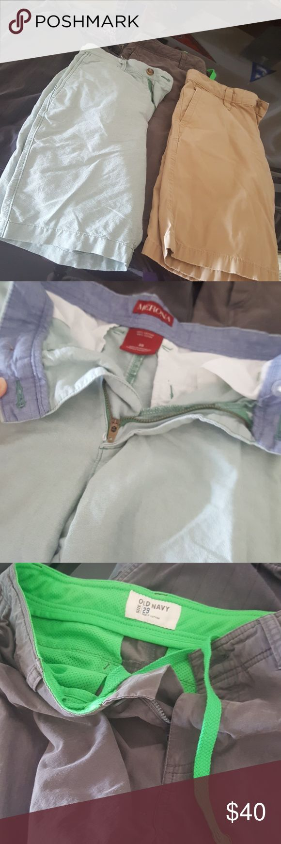Lot of 4 pairs mens shorts sized 29-30 Lot of r pair men's shorts sized 29-30. 2 Greg pairs, one quicksilver and one old navy, one khaki pair unlabeled and one light green pair by merona.   Will accept offers.  Will send next day. Make a listing or bundle a lot to save on sale. Quiksilver Shorts Cargo