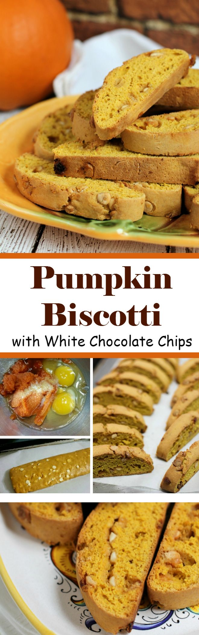 Pumpkin Biscotti with White Chocolate Chips