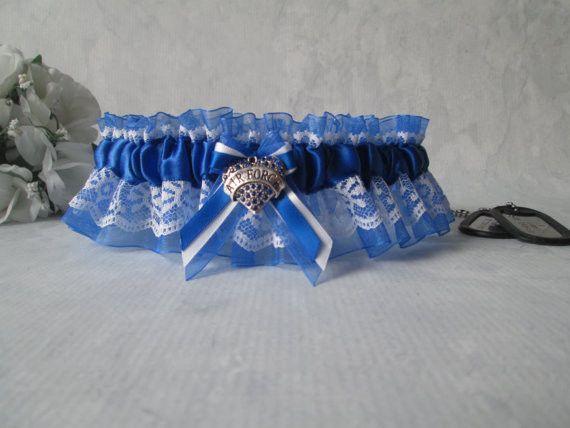 Air Force Bridal Garter - Military Bride's Wedding Garter - Something Blue