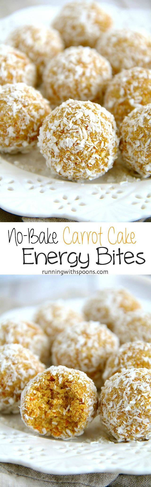 No-Bake Carrot Cake Energy Bites |from runningwithspoons.com !!!! YUM!!!!!! Best energy bites ever!! That combo & ratio of spices sounds wonderful !!A delicious desert in a portable, no bake bite that take just 10 minutes to make!?!? Yes please!!
