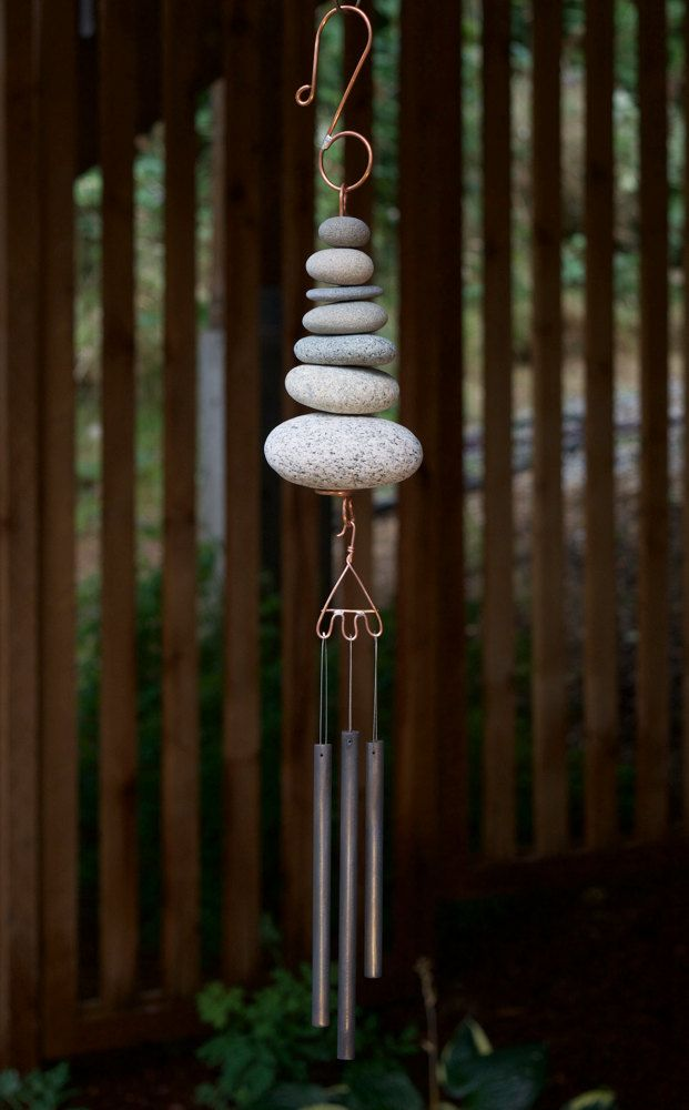 Wind Chime, Natural Beach Stone, Stones, Windchime, Windchimes, Wind Chimes, Chime, Modern, Contemporary, Zen by CoastChimes on Etsy