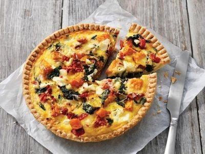Pumpkin, Spinach and Feta Quiche recipe