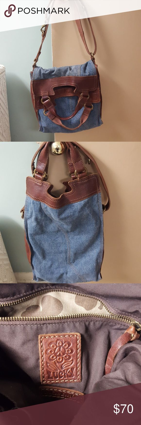 Abbey Road crossbody Lucky purse Abbey Road style lucky brand purse  Denim and leather  Adjustable strap so it can be crossbody or shoulder bag New condition Lucky Brand Bags Crossbody Bags