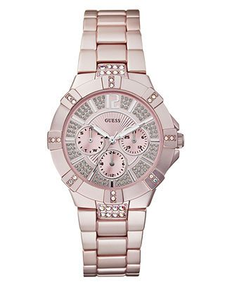 GUESS Watch, Women's Light Pink Aluminum Bracelet 41mm U12657L2 - All Watches - Jewelry & Watches - Macy's