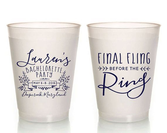 Bachelorette Favor Cups Final Fling Before the Ring Bachelorette Cups Bachelorette Party Cups Party Cups Frosted Plastic Cups 1405 by SipHipHooray