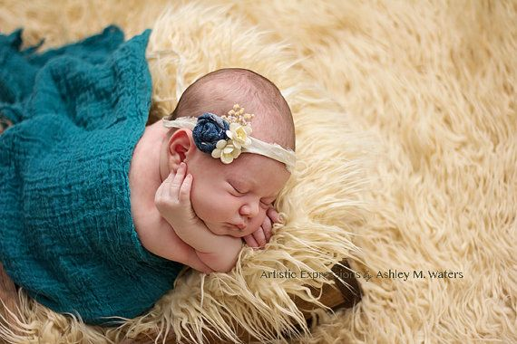 jean rosette and paper flower sari silk tieback with organic embellishments; photography prop; newborn photo prop