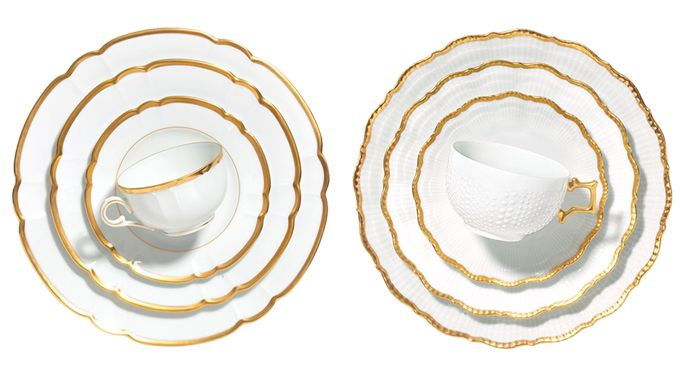 Splurge vs. steal: Traditional, gold-rimmed wedding china
