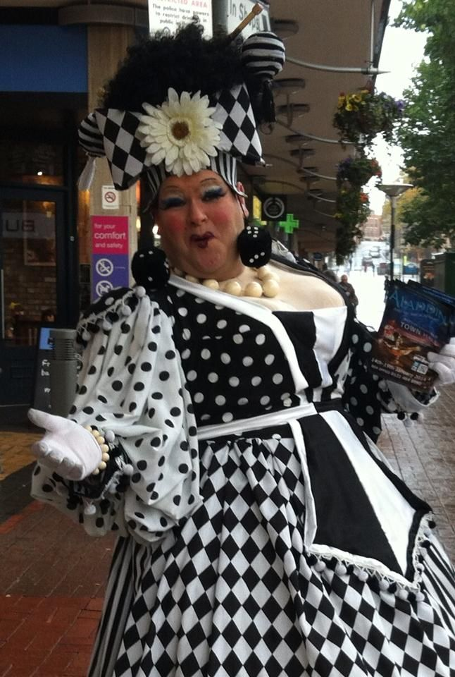 Pantomime Dame Richard Aucott dressed as Widow Twankey for a January 2014 production of the panto Aladdin in Sutton Coldfield