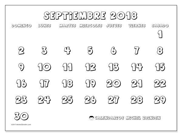 Calendario para imprimir septiembre 2018 - Adrianus