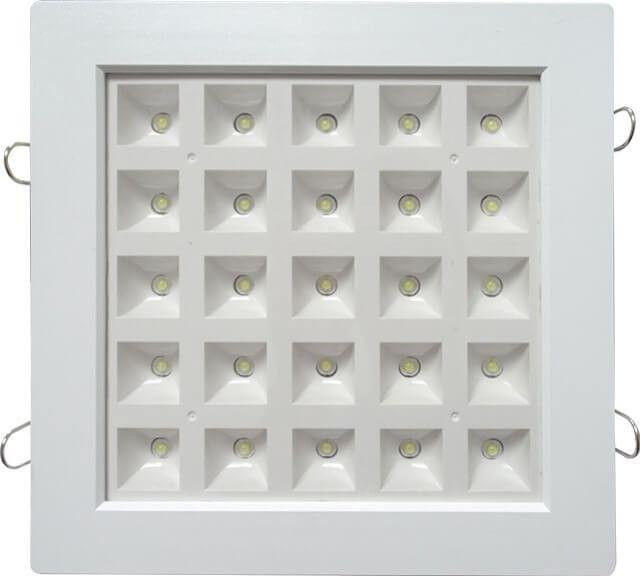 SPOT LED GRILA 25W PATRAT ALB RECE este conceput special pentru incastrarea in tavan fals sau de rigips cu ajutorul clemelor incluse in pachet. Alimentarea se face la 220V cu ajutorul transformatorului oferit.