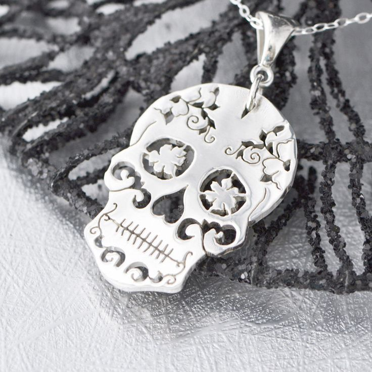 Sterling Silver Sugar Skull Pendant, Sugar Skull Jewelry, Sugar Skull Necklace, Halloween Jewelry, Day of the Dead Wedding, Halloween Sale by TheJewelryGirlsPlace on Etsy https://www.etsy.com/listing/247733372/sterling-silver-sugar-skull-pendant