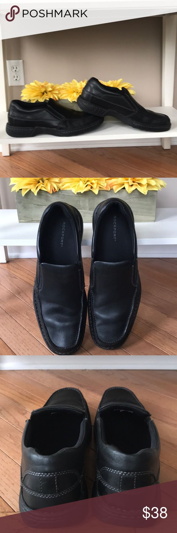 Men's rockport black leather shoe Like new black leather slip on Rockport shoe. Men's size 12. Excellent condition. All leather Rockport Shoes Loafers & Slip-Ons
