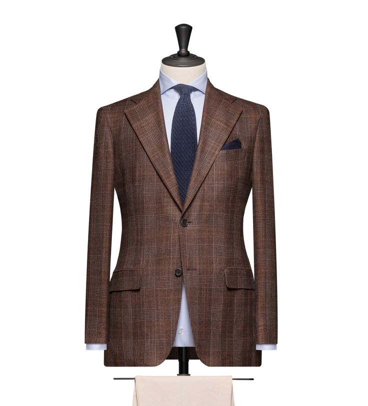 This cloth is a Medium Brown Glencheck with a Rust Brown Windowpane. Cloth Weight: 290g Composition: 53% Wool, 44% Silk and 3% Cashmere