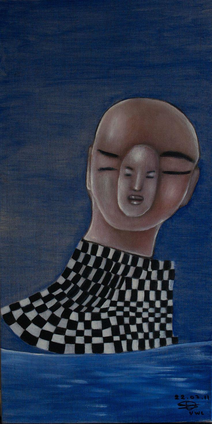 """VWL/Face/002  (Paris 2011 """"Checkmate"""")-Acrylic on canvas/Acrylique sur toile/Acrylico sobre tela (30X60cm)"""