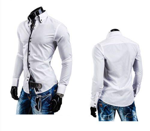 New Fashion Men Luxury Casual Stylish Slim Fit Long Sleeve Casual Dress Shirts H | eBay