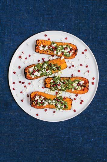 A dazzle your friends kind of Persian feast Butternut Squash with Pistachio, Pesto, Feta & Pomegranate Seeds