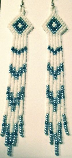 Native American Inspired Seed Beaded Earrings by BlueTurtleMade
