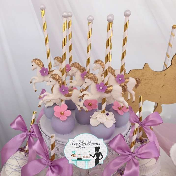 Loving the carousel cake pops at this Carousel Birthday Party! See more party ideas and share yours at CatchMyParty.com