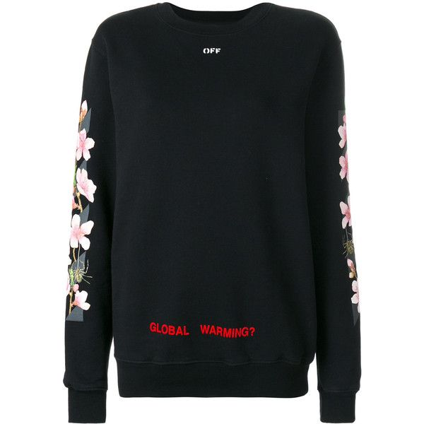 Off-White cherry flower sweatshirt (9.365 ARS) ❤ liked on Polyvore featuring tops, hoodies, sweatshirts, black, cherry top, oversized sweatshirt, flower top, long sleeve oversized top and off white sweatshirt