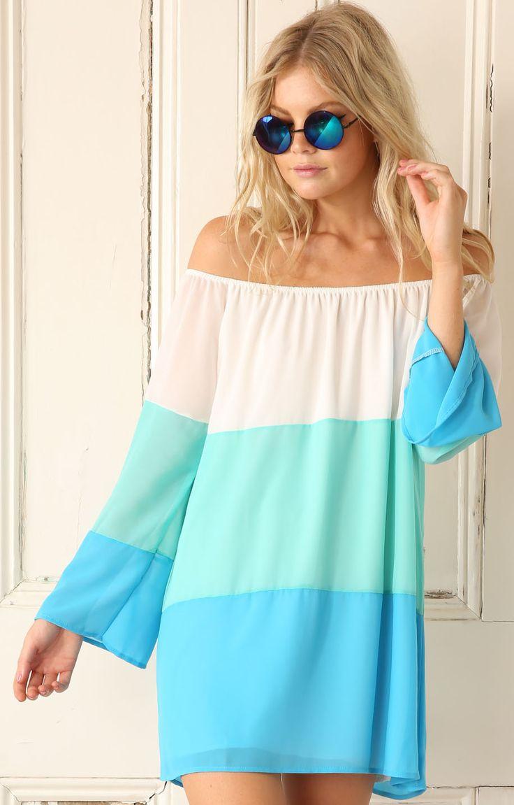 White Blue Off The Shoulder Color Block Dress - Sheinside.com