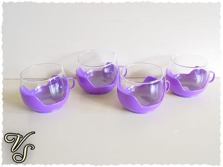 4 Teegläser - Vintage Teetassen - lila - 70er. Von vintageschippie bei DaWanda.