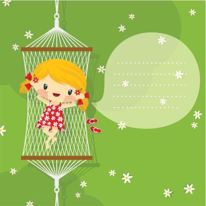 Feliz garotinha loira alegre em rede. Primavera verão, minimil - ilustração de arte em vetor