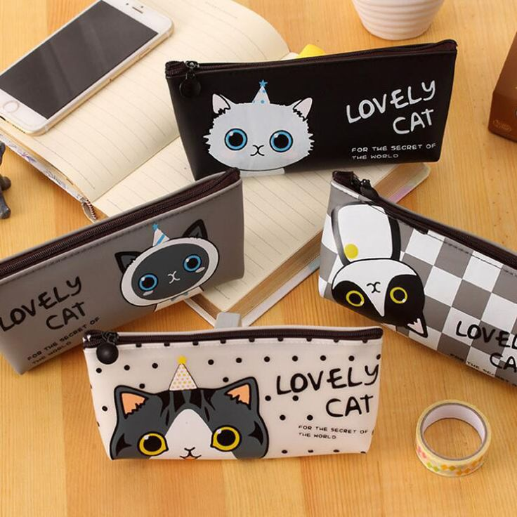 Korea Cute Cat Princess Pencil Pencil Student Stationery Bags Waterproof Pouch Creative Stationery