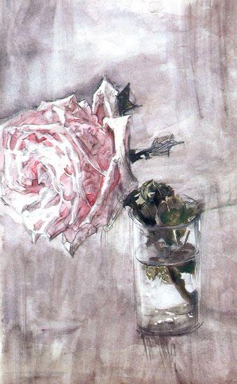 La Rose, huile de Mikhail Vrubel (1856-1910, Russia)